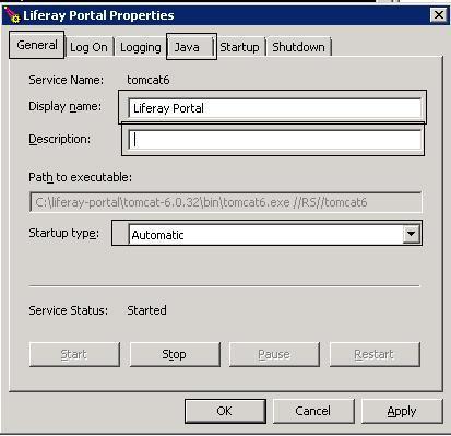 Running Liferay 6 Tomcat 6 as windows service   Knowledge Share